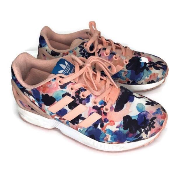 buy online ae3c3 eecd1 Adidas Ortholite ZX Flux Torsion Shoes Floral Sz 4